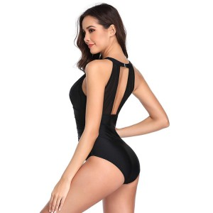 Wholesale one piece swimsuit custom high neck plunge mesh sexy women swimwear