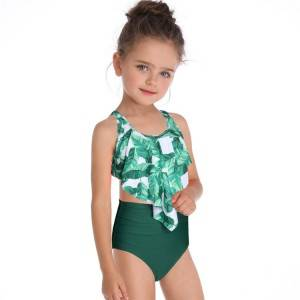 Custom cute two piece children swimwear kids bikini for girls