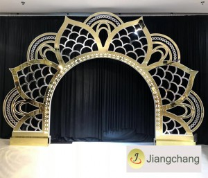Golden king and queen sunflower back drop for weddings for event  SF-BJ14