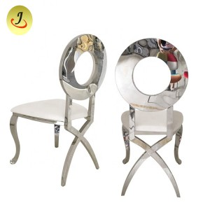Stainless Steel Chair Stackable Gold Banquet Chairs with White Cushion SF-SS020