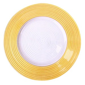 Hot sale gold silver rim glass charger dinner plates for wedding SF-PZ03