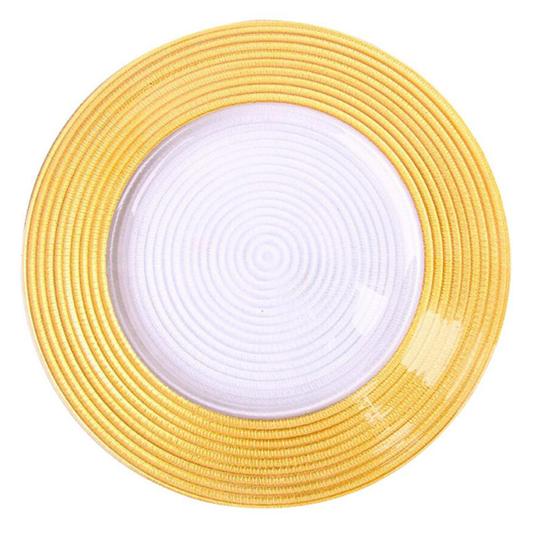 Hot sale gold silver rim glass charger dinner plates for wedding SF-PZ03 Featured Image