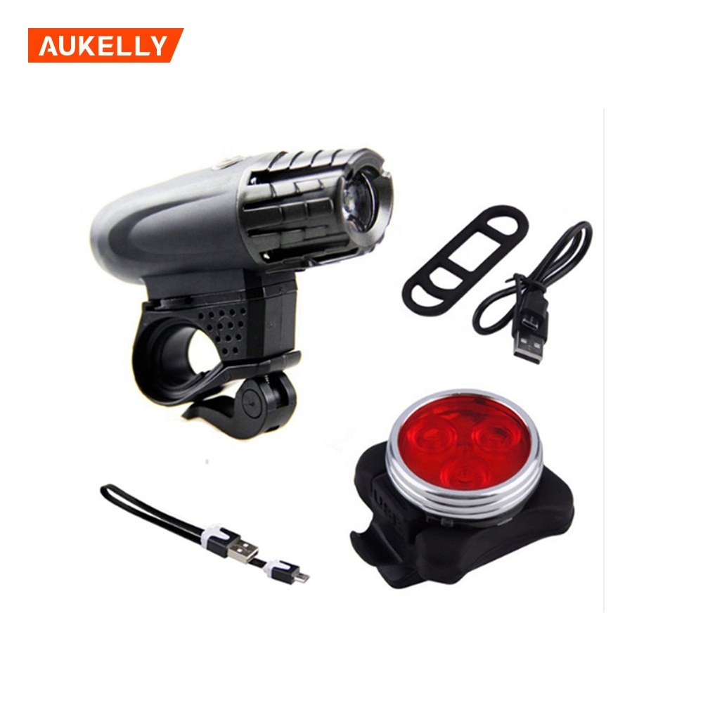 Mountain Road Bicycle Front Rear Lamp Kit de luz de bicicleta Bike frame head lights taillight usb rechargeable bike light set