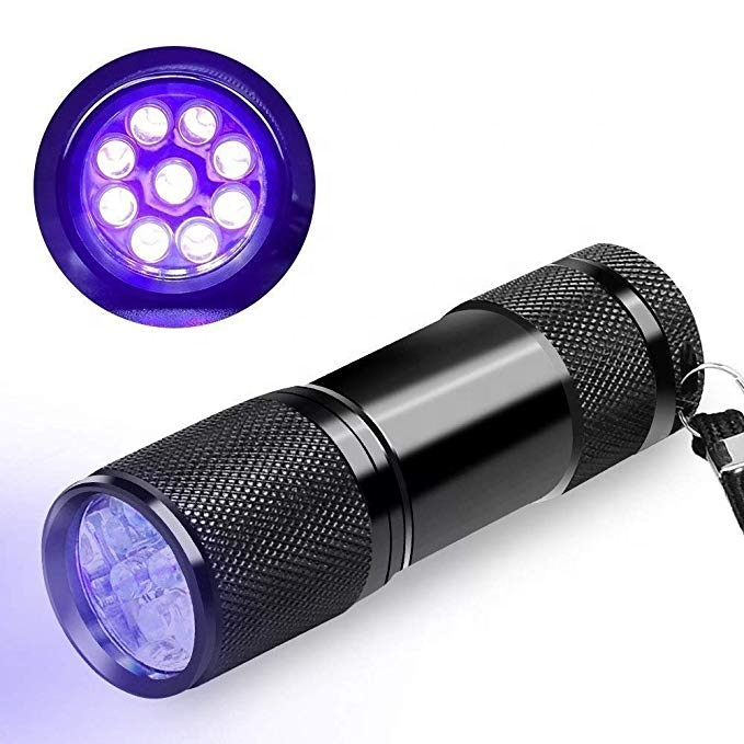 Hunting scorpion 395nm UV Torhlight UltraViolet taschenlampe Dog Cat Pet Urine Detector Backlight Ink curing 9 Led UV Flashlight