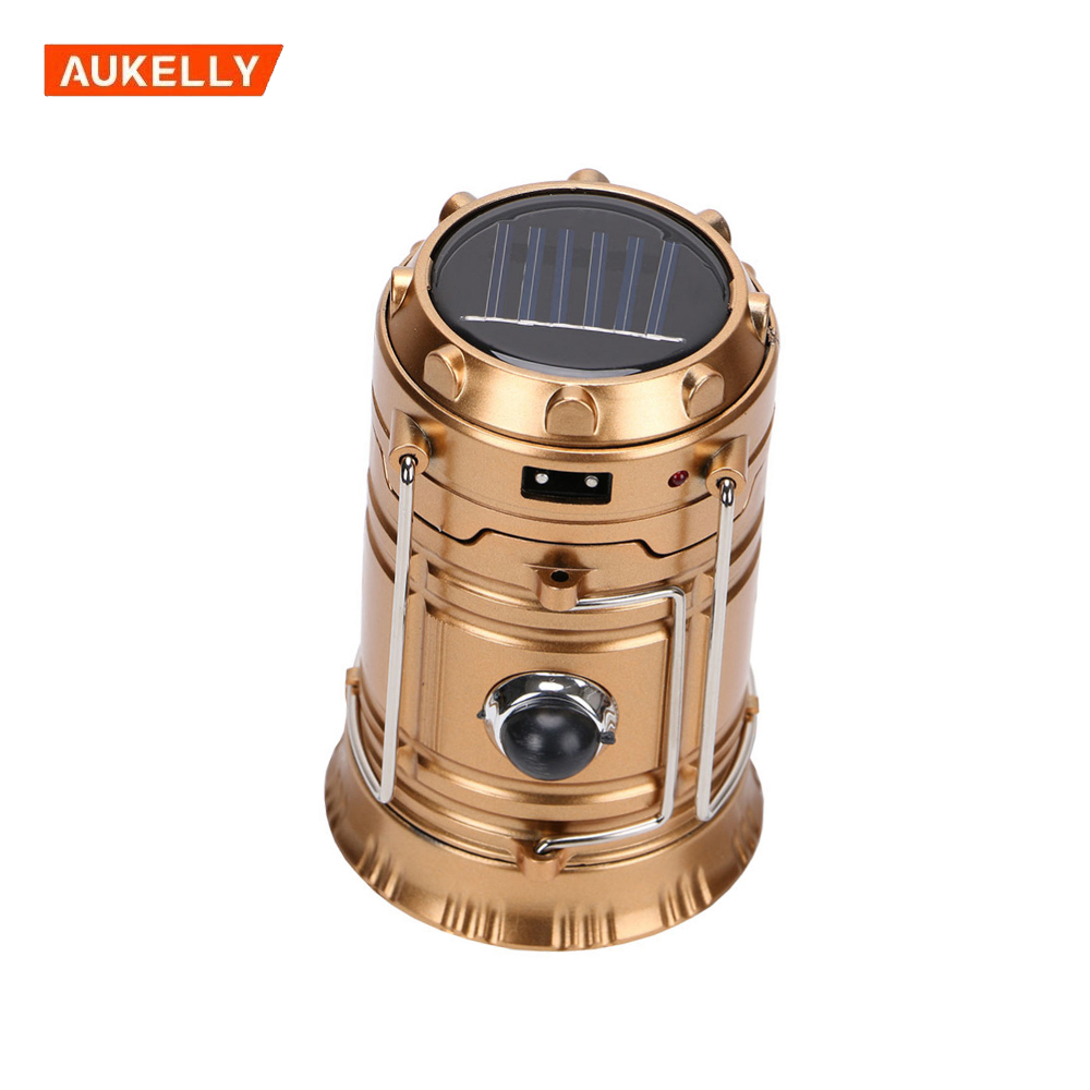 High quality rechargeable LED solar camping lantern with mobile phone charger solar emergency light