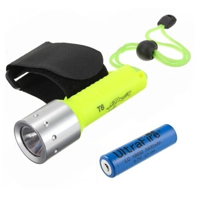 Small 100m search powerful diving led flashlight torch