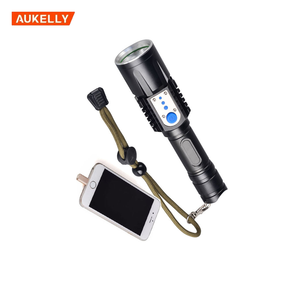 Outdoor Water Resistant Tactical LED Power Bank Flashlight With Power Indicator