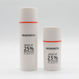 25% Recycled Plastic Eco-friendly PCR Material Packaging Airless Pump Bottle