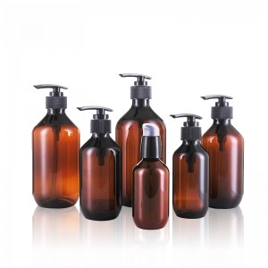 PET/PCR-PET Hand Washing Bottle Amber Plastic Shampoo Liquid Shower Bottle
