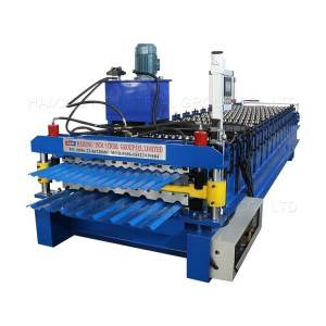 Corrugated trapezoidal double layer roof forming machine