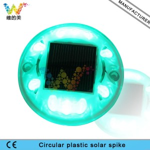 New arrival CE RoHS approved round road stud solar powered green LED road reflector