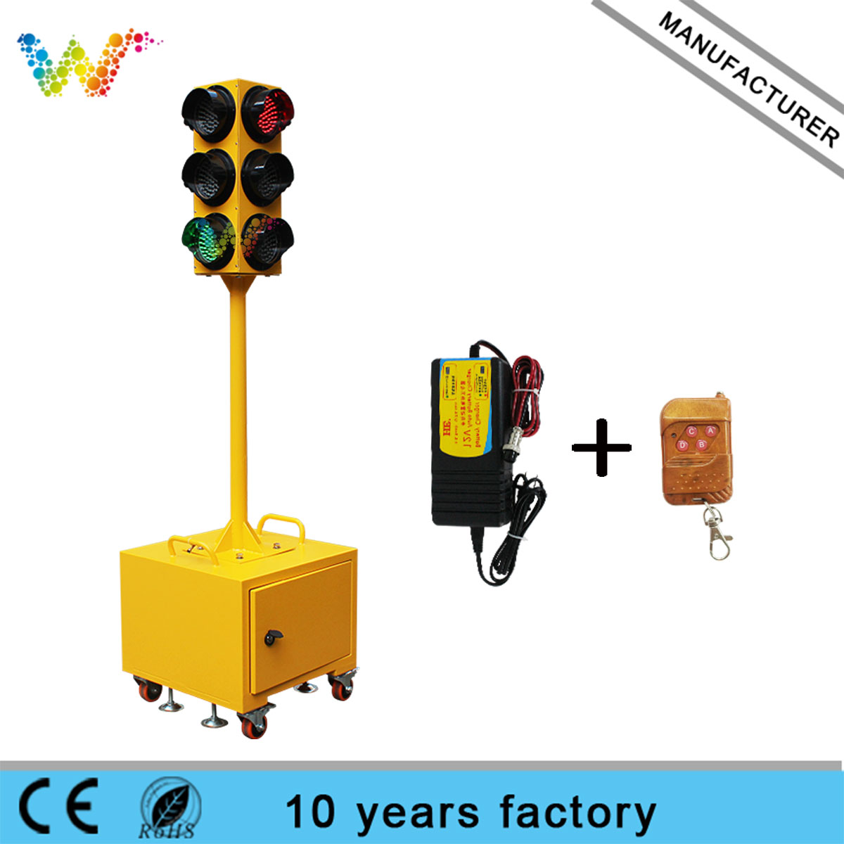 red amber green 125mm mobile traffic signal light