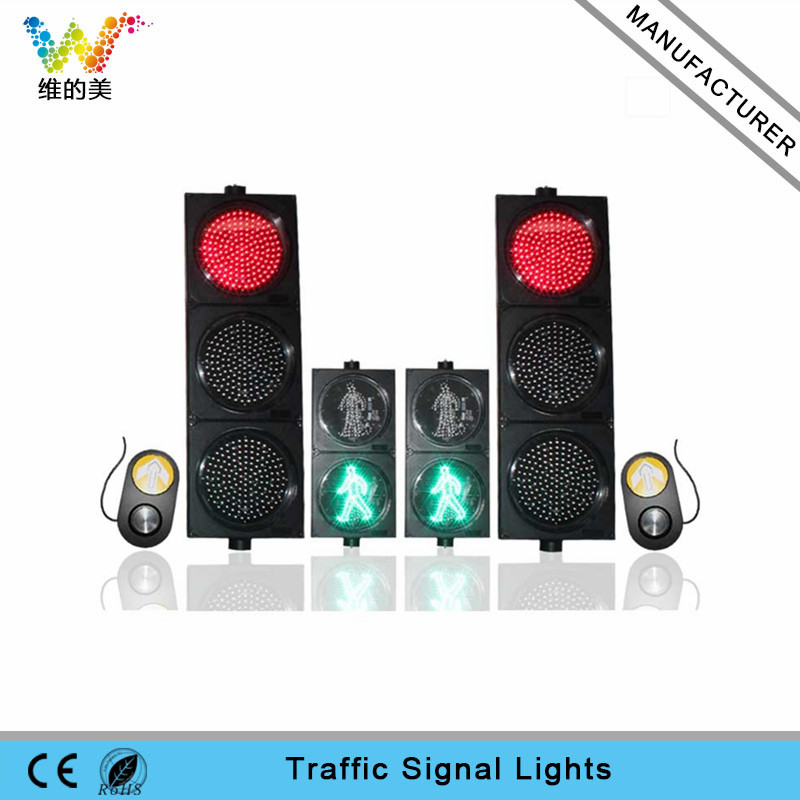 Road Safety 300mm pedestrian LED traffic light with push button