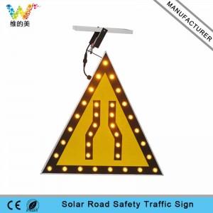 New triangle amber LED flashing light solar warning sign board