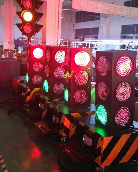 Temporary traffic lights installed at Baishawan Road, Dapeng, Longgang, Shenzhen