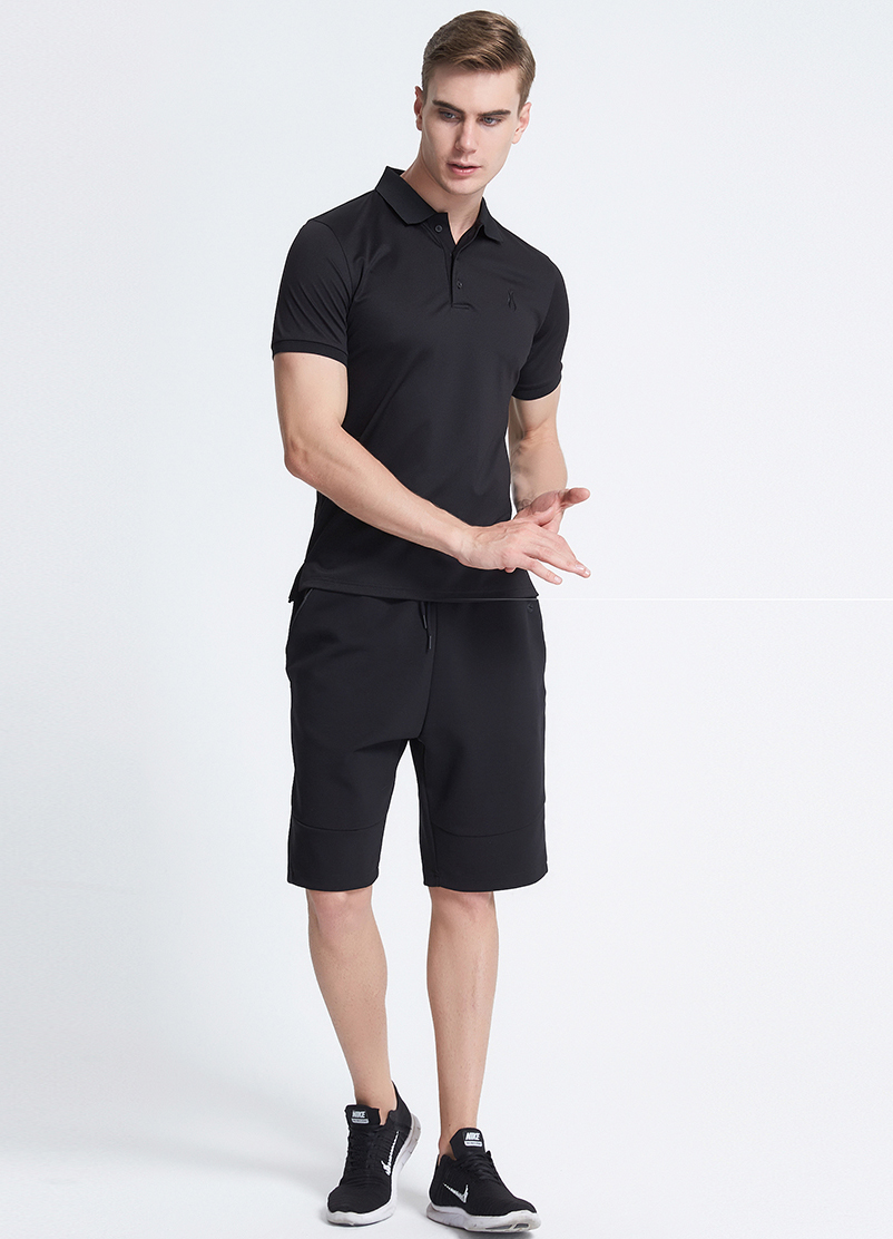 High quality slim fit 3 button placket fold collar men custom polo shirt