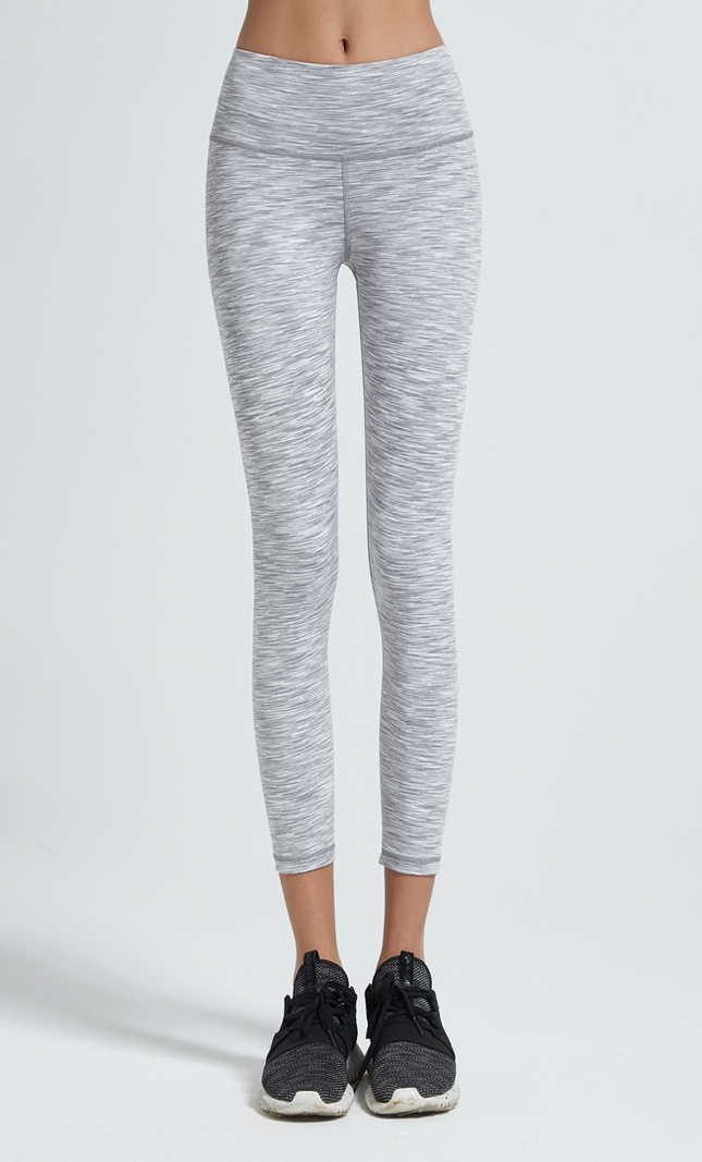 Polyester spandex heather grey high waist yoga leggings women