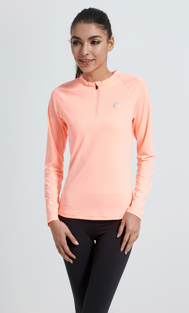 OEM factory soft dri fit quarter zip pullover women's long sleeve shirt running top