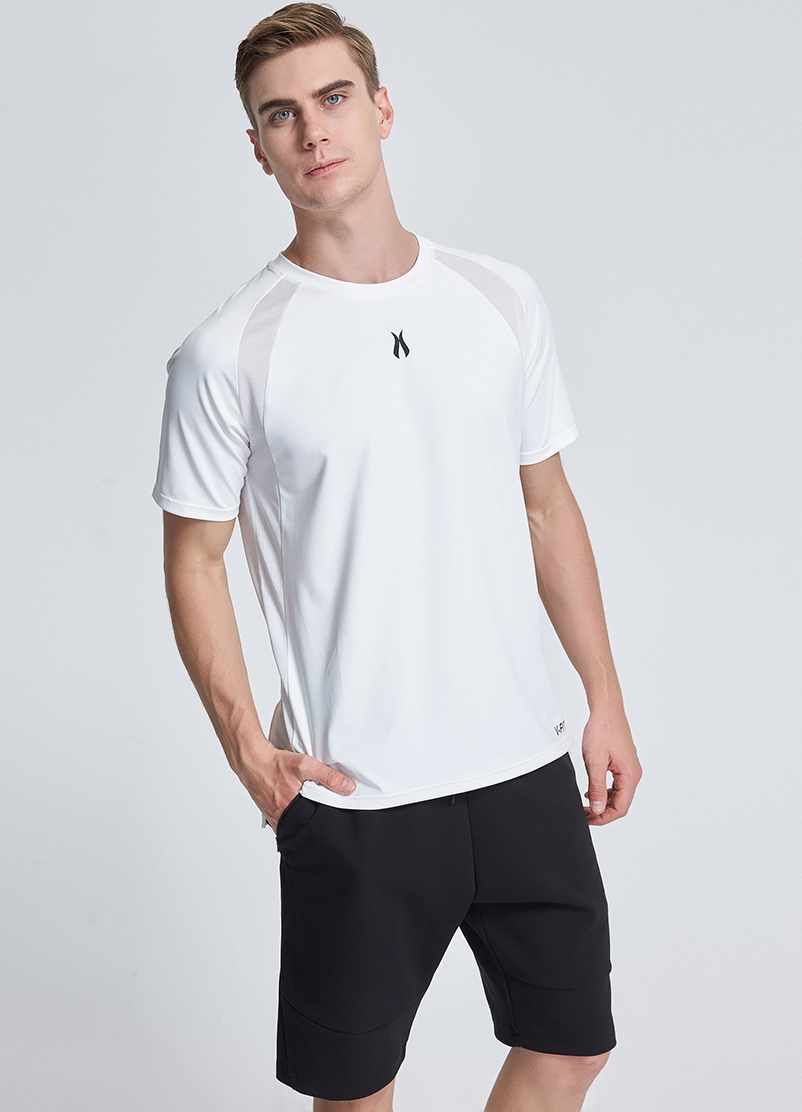 2018 new style mesh panel short sleeve polyester t-shirt with side split