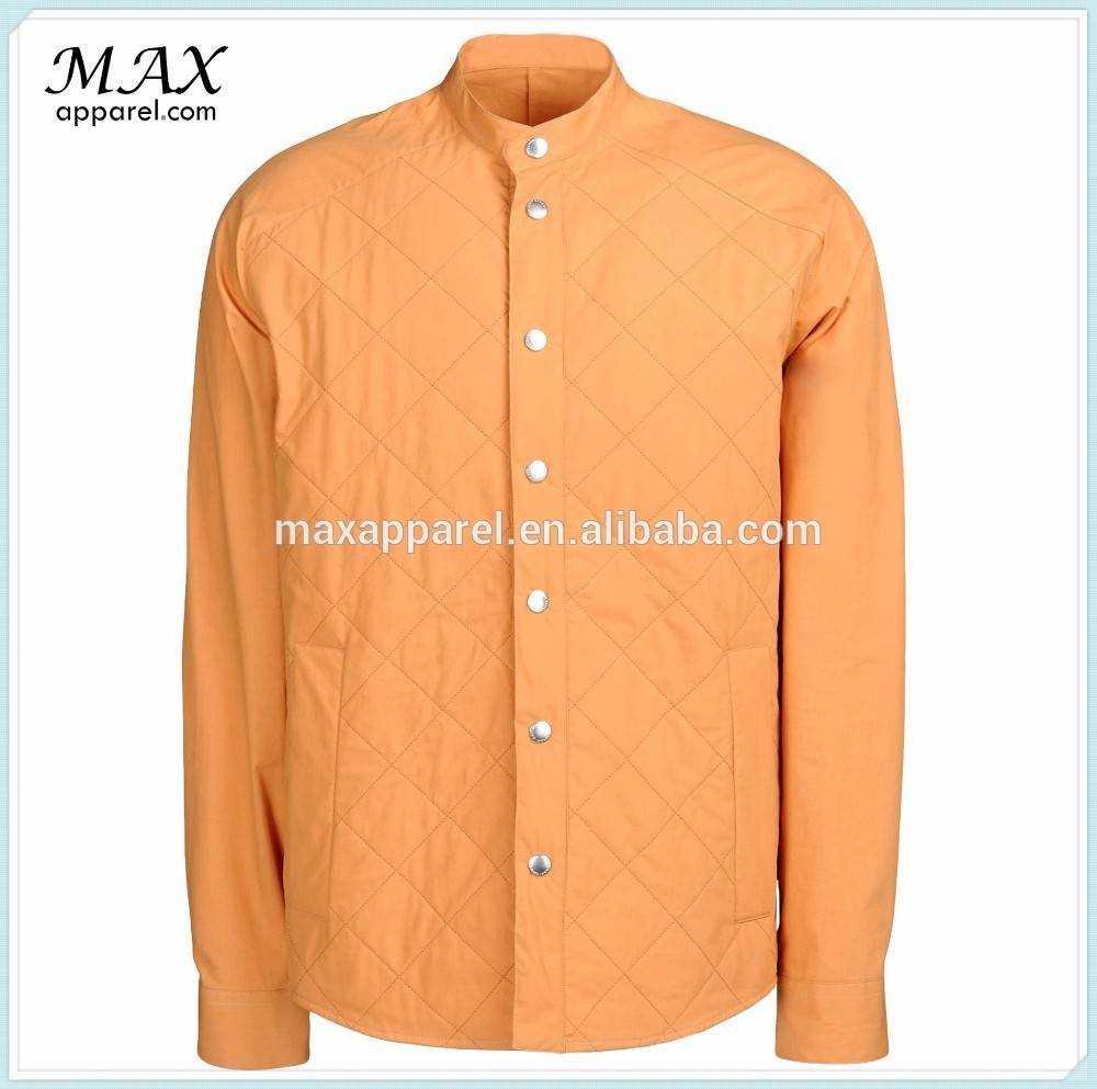 High quality 100% cotton quilted plain winter jacket mandarin collar orange stylish jacket for men