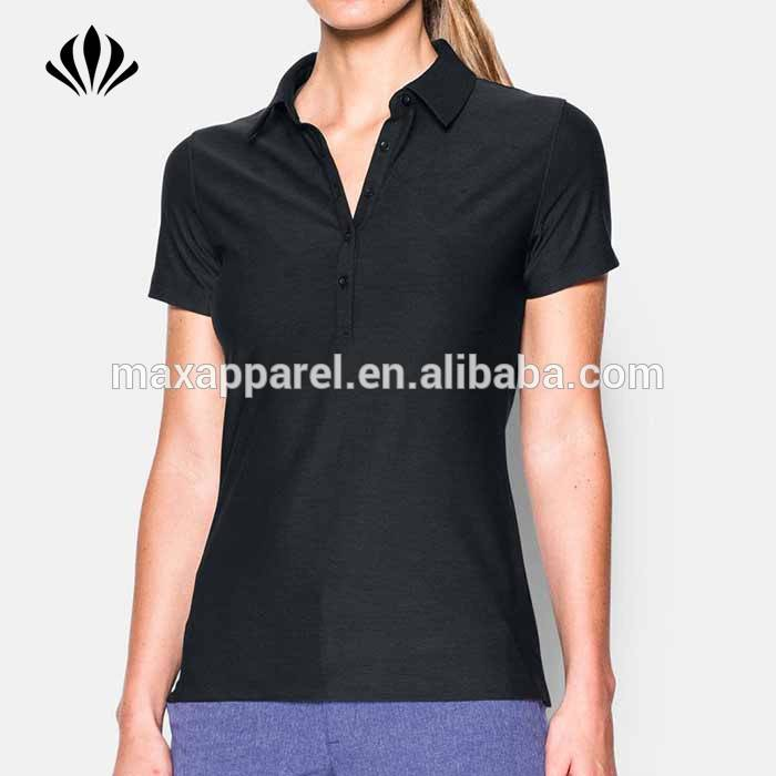 Wholesale buttons Self Fabric Collar 4 Way Stretch Dri Fit Golf Polo Shirt