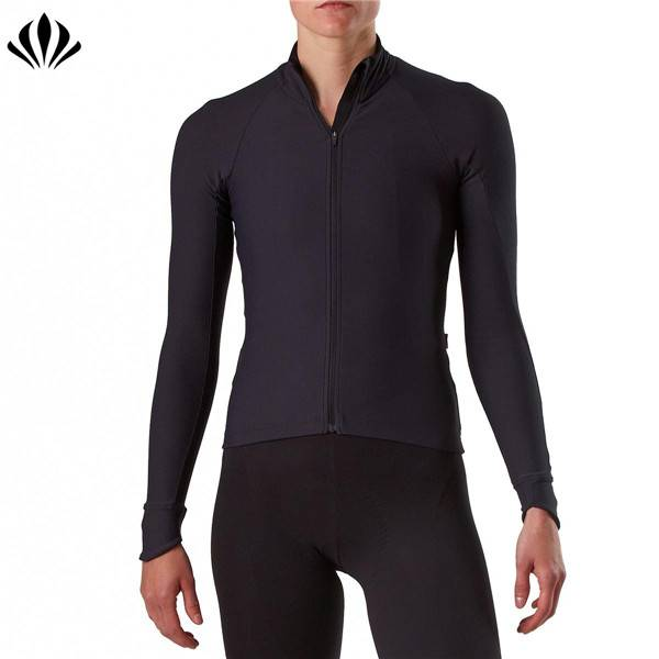 Custom cycling wear women quick dry breathable moisture wicking biker zip up jacket cycling long sleeve jersey