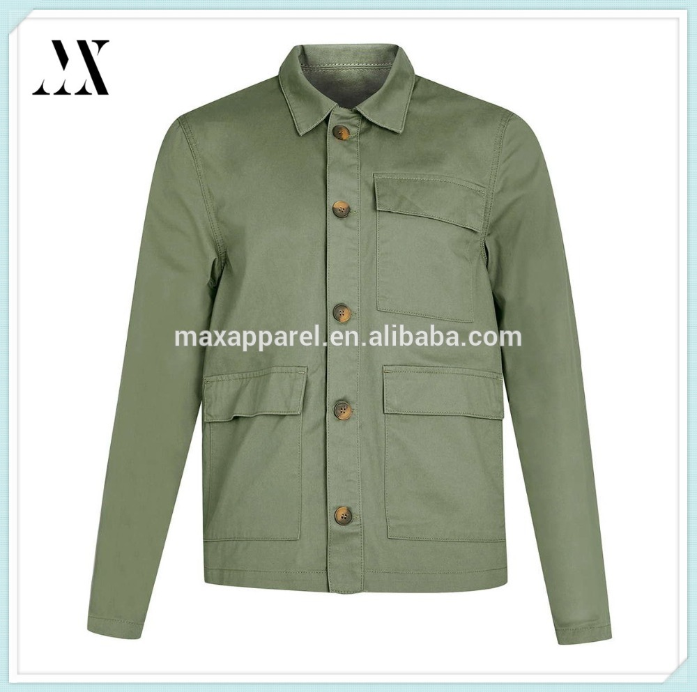 Green cotton waxed jacket welt pockets wholesale button down jackets