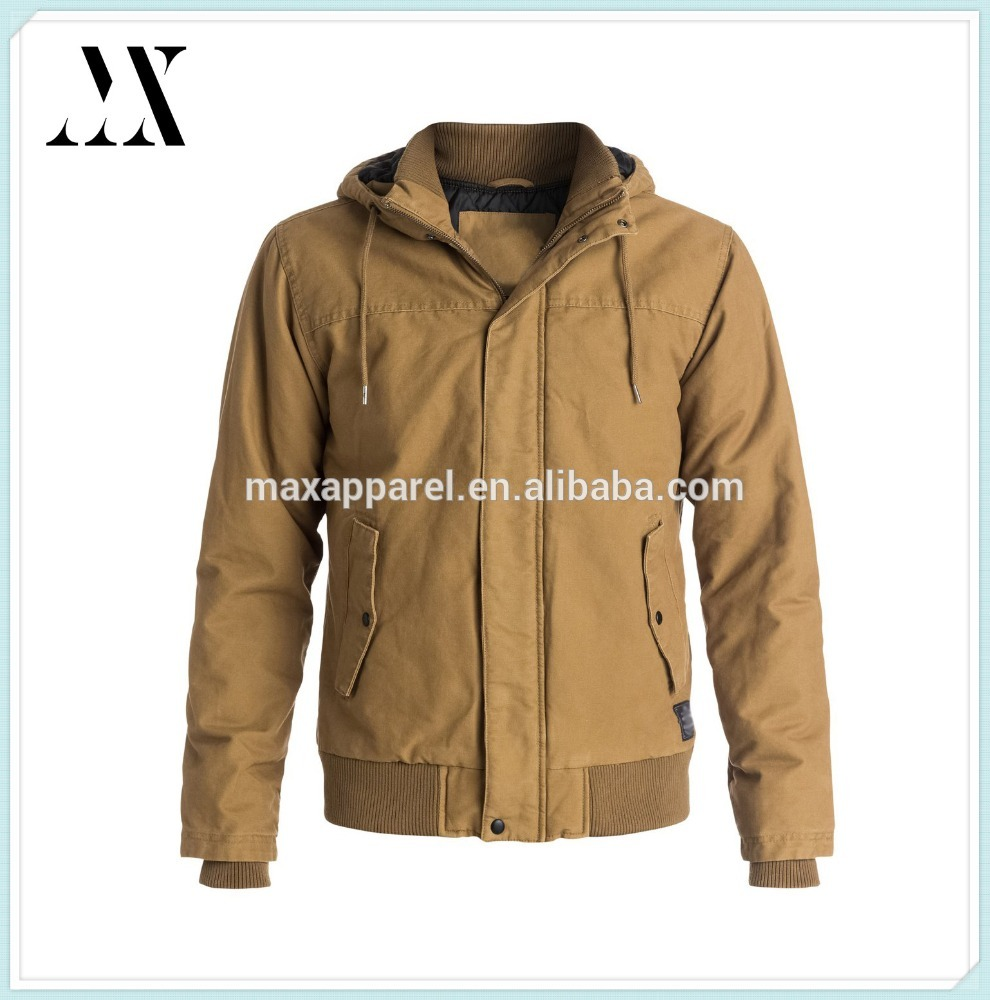 New Arrival Mens Khaki Color Washed Cotton Canvas Front Zipper Canvas Jacket With Quilted Nylon Lining for 2015 Winter