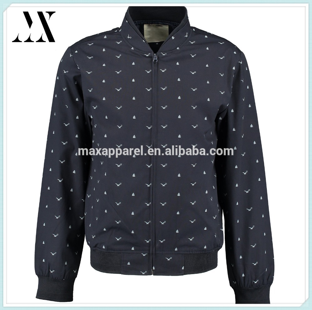 Mens Fashion Casual Youthful Stylish Navy blue Nautical Pattern Baseball Jacket