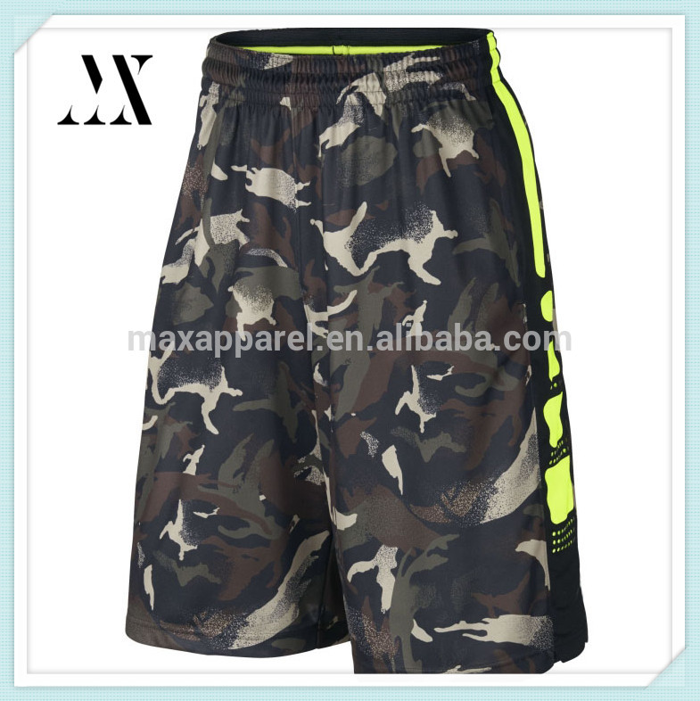 2017 Wholesale Mens camo Basketball shorts Dry Fit 100% Polyester Causal basketball Shorts