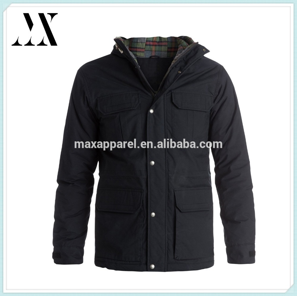 2015 Mens Winter Wind & Waterproof Nylon/Cotton Blend Outdoor Jacket , Heavy Weight Wax Cotton Outdoor Jacket with Check lining