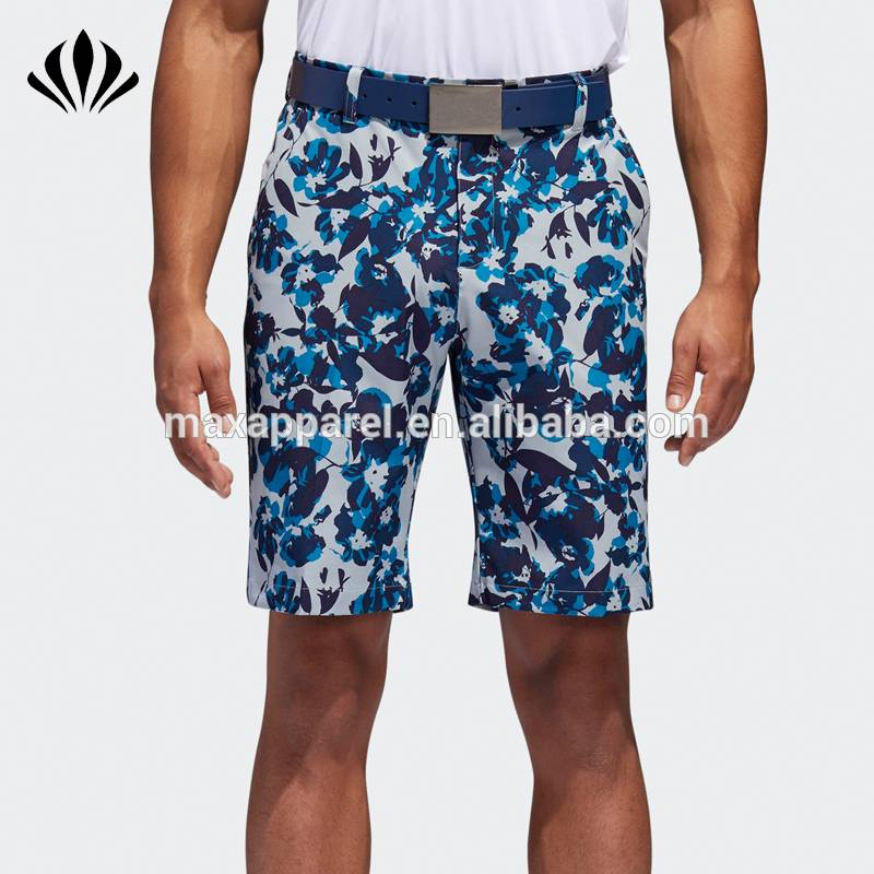 Men slim fit allover print zip fly golf shorts 4 pockets design breathable sports shorts