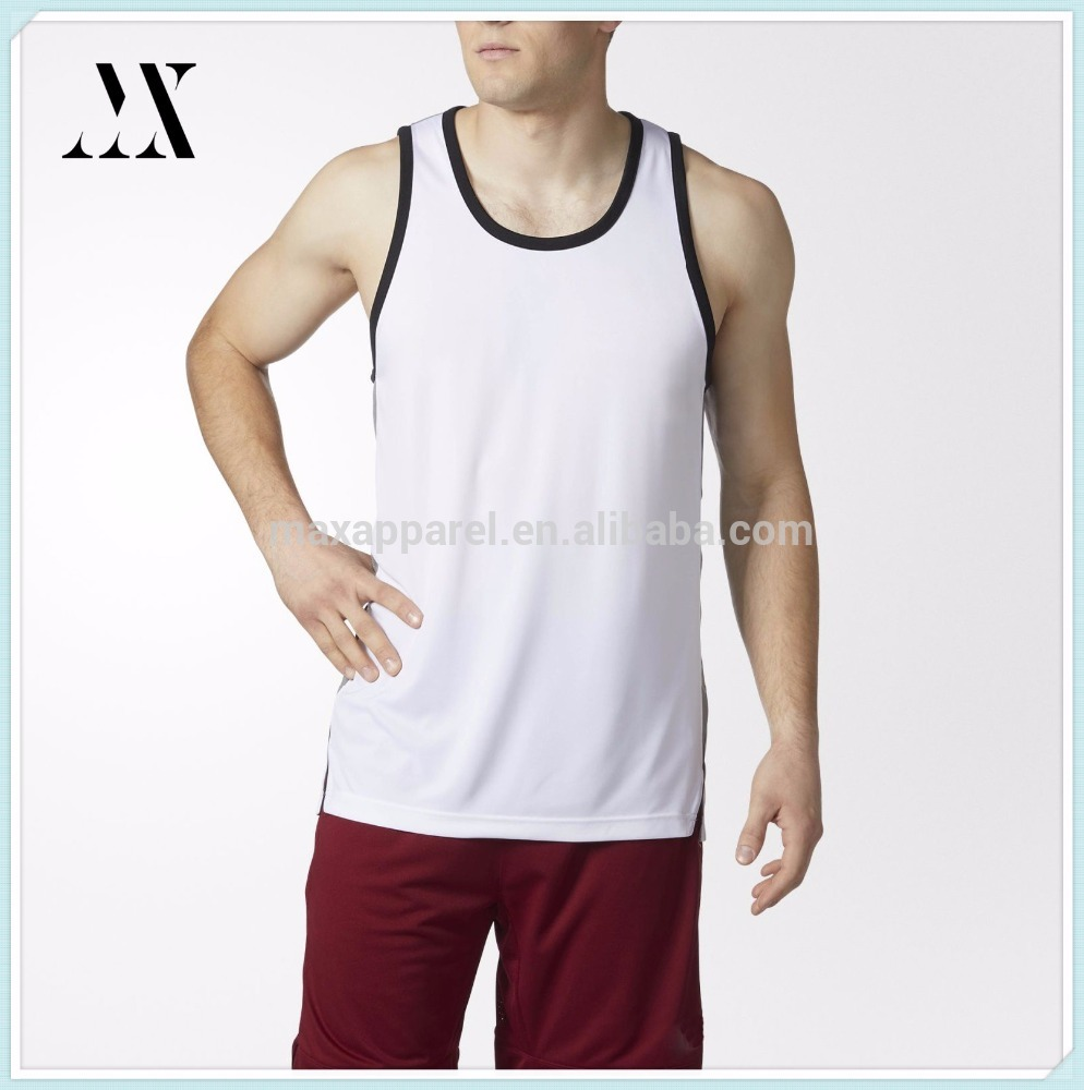 Custom summer cool comfortable blank mens tank top Contrast binding Vented side hems basketball tank top