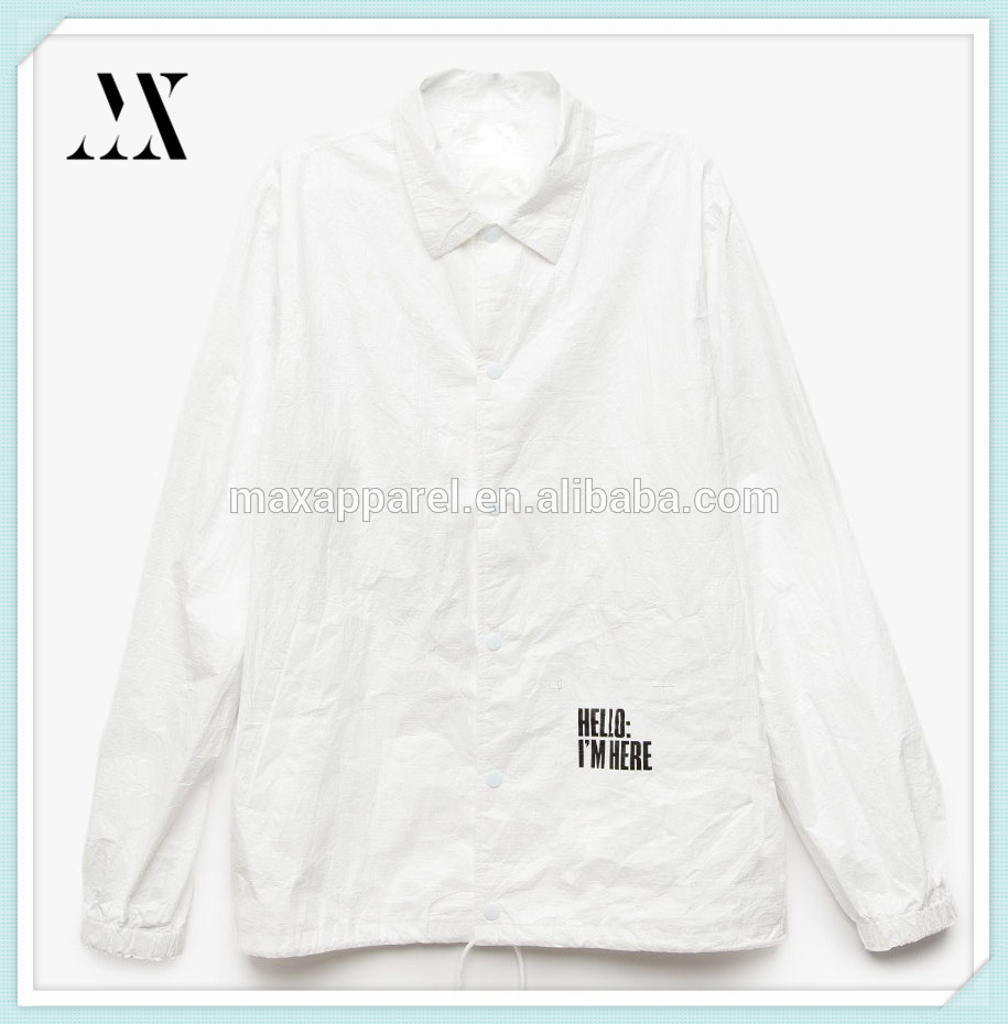 New style lightweight button down pointed collar tyvek jacket