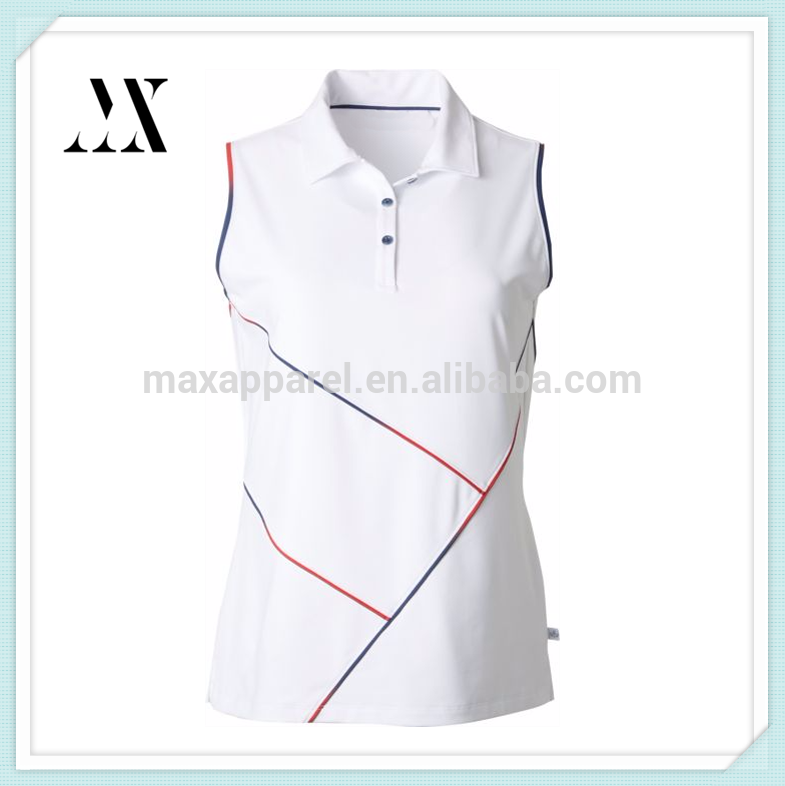 Custom Active wear Women's sleeveless golf polo Button placket Ombre contrast piping golf polo for ladies