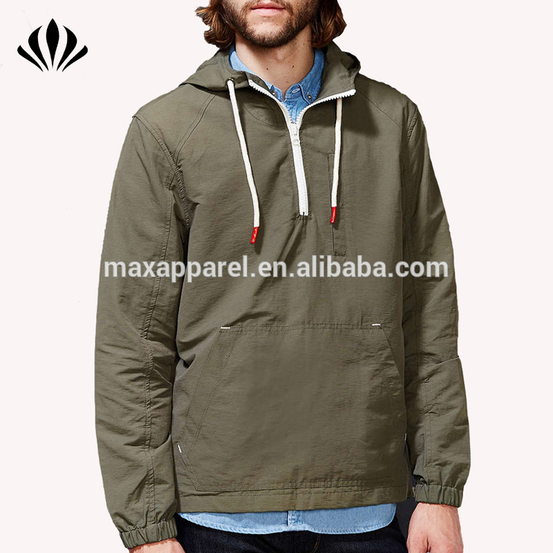 Men long sleeve half zip closure anorak jacket side zip hem loose fit windbreaker jacket