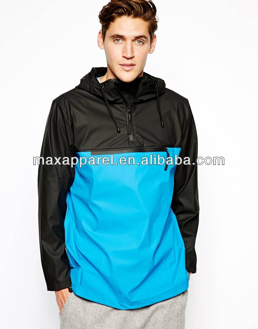 Mens Fashion Water Repellent Rain Jacket Half zipper Openning Jacket BY rain Waterproof Men Rain Jacket