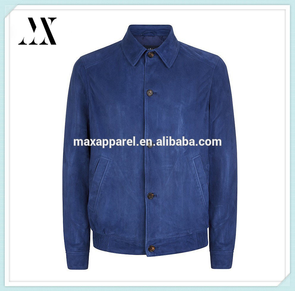 2015 Fashion Mens Quilted Blue Lambskin Leather Coat Jacket Leather Hoodies Jackets For Winter