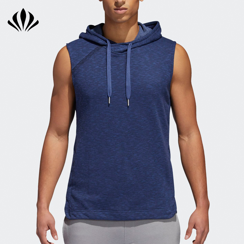 Men custom basketball hooded sweatshirt kangaroo pocket sleeveless pullover hoodie