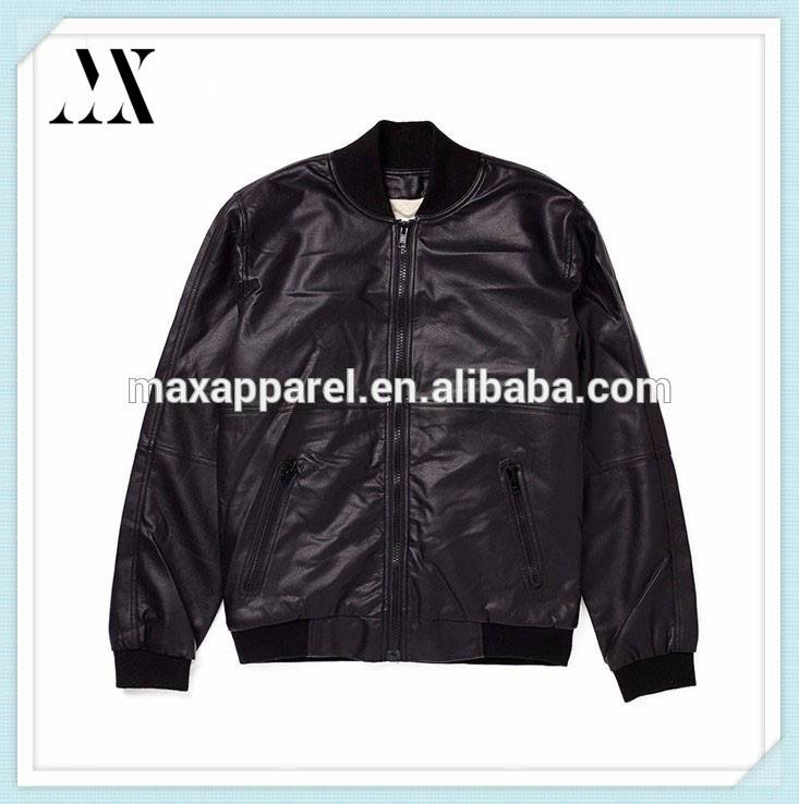 Custom Made Logo Customized Varsity Jacket Black Leather Bomber Quilted Jackets Bomber Leather Jacket For Man