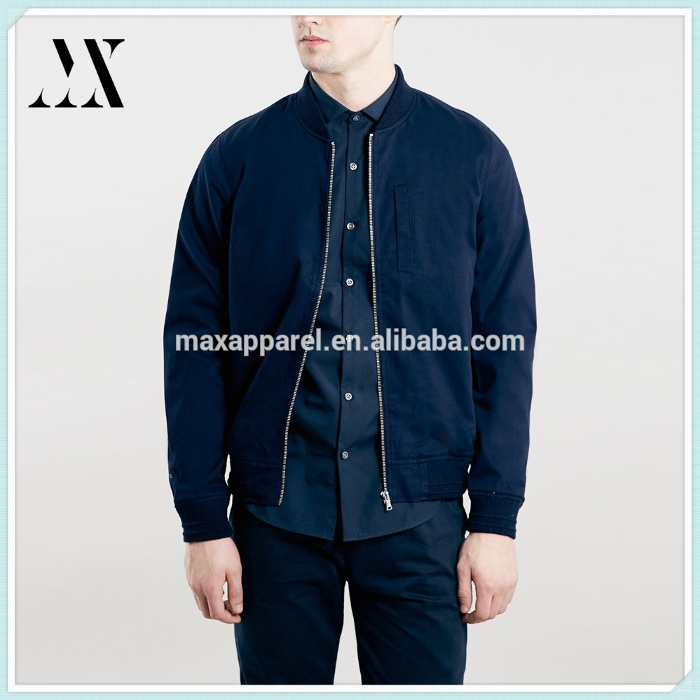 2015 fashion style man bomber jacket navy cotton bomber jacket zip up chest pocket man jacket