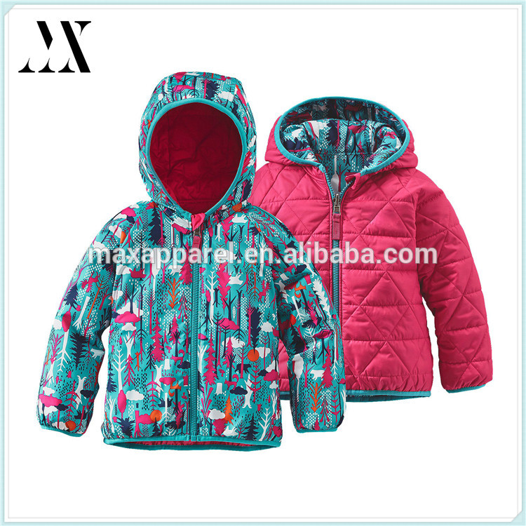 2016 China Wholesale Custom Children Reversible Puff-Ball Jacket Wind And Water Resistant Jacket