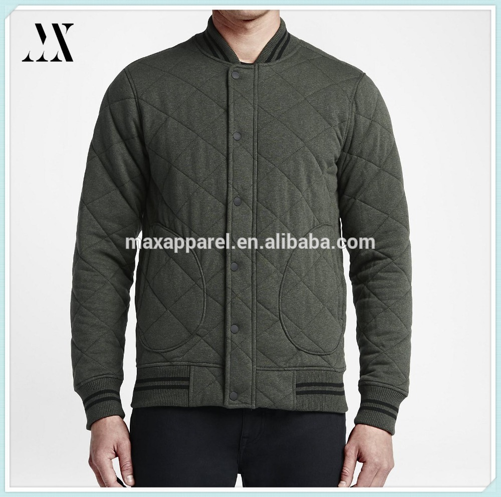 Stylish winter hand pockets quilted fleece men's jacket