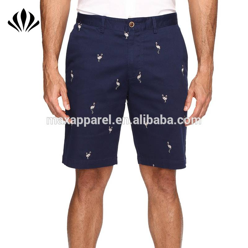 Mens stretch cotton woven golf shorts allover flamingo embroidery zip fly casual shorts