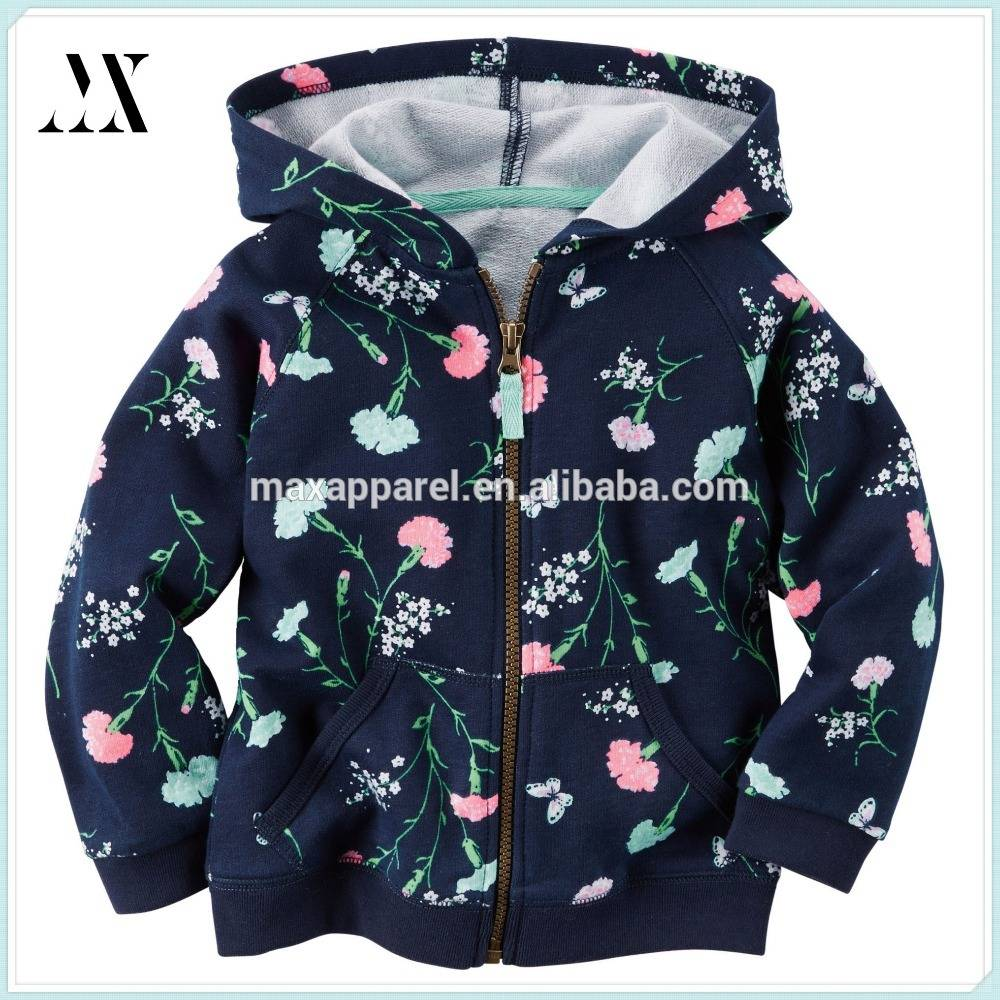 Children Clothes All Over Floral Print French Terry Zipper Up Girls Hoodie