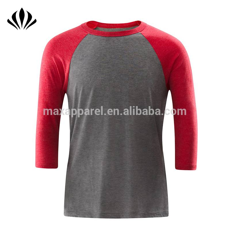 Men contrasted 3/4 sleeve blank t shirt cotton blend crew neck baseball t shirt