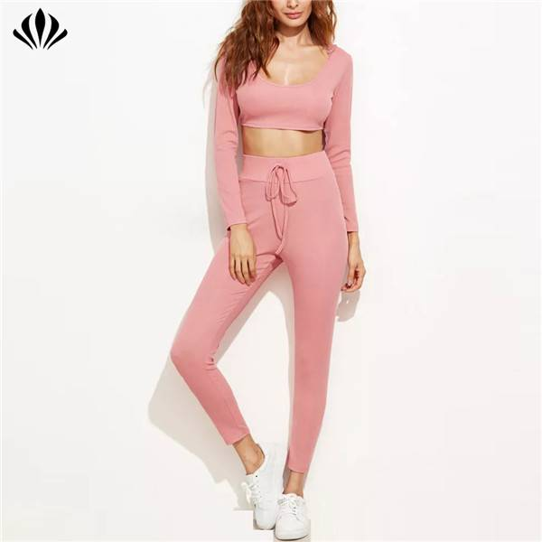 Private label sportswear fitness suit woman gym tracksuits 2 pcs sets crop hooded top with drawstring sweatpants