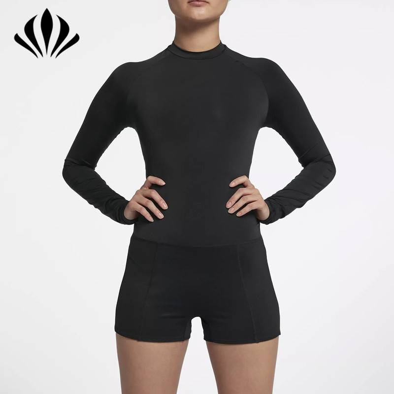 Women's tight fit mock neck open back athletic running jumpsuit bodysuit with long sleeve tops and shorts