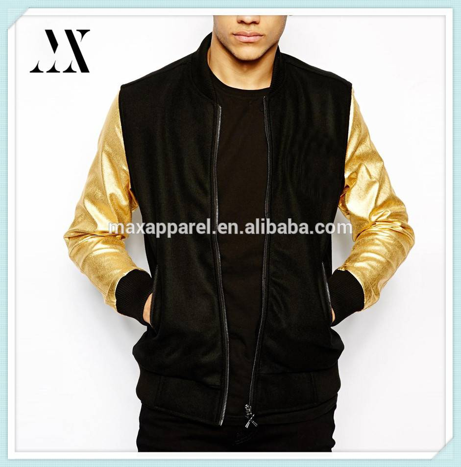 China Manufacture Varsity Jacket With Gold Sleeves Ribbed Collar And Zipped Opening Men Jacket
