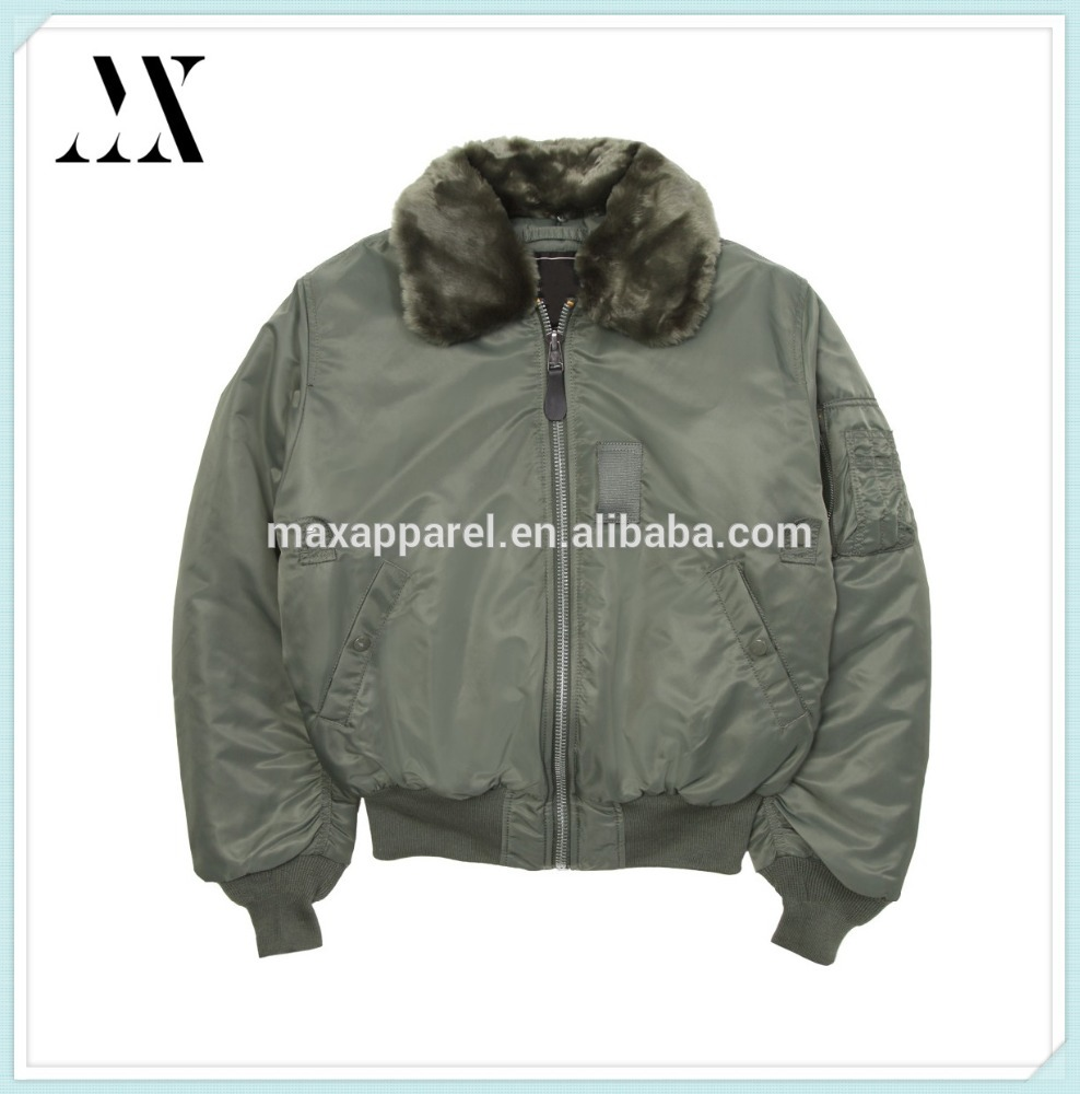 100% Nylon Front ZIp Mid Weight Removable Fur Collar Sleeve Zip Pocket Flight Bomber Jacket